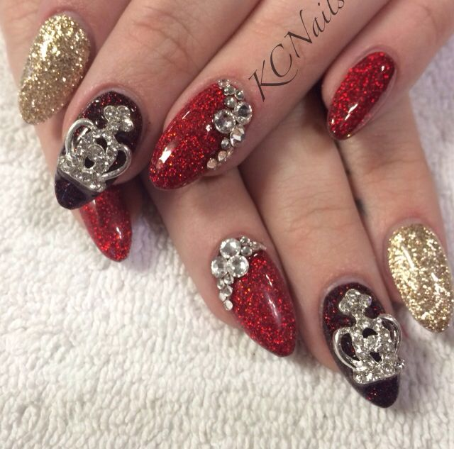 Black, Gold And Red Acrylic Nails. Almond Shaped Nails