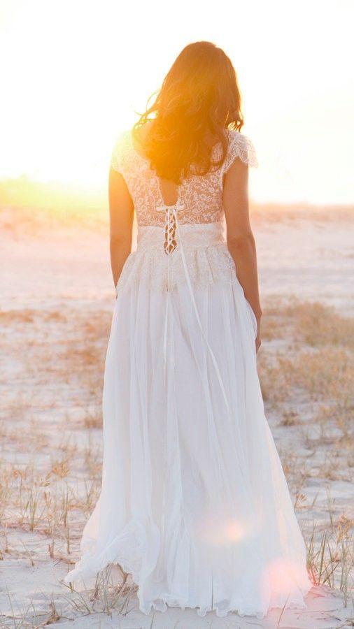Champagne gold lace wedding dress, Lace Beach Wedding Dress, Valentine's Day ideas www.loveitsomuch.com