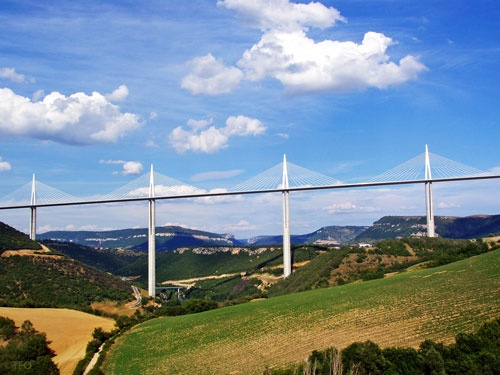 Viaduct of Millau, the highest cable-stayed bridge-road in the world, a French-English creation, designed by the French engineer Michel Virlogeux and the architect Sir Norman Foster. The viaduct spans the Tarn Valley in the Causse of Millau.