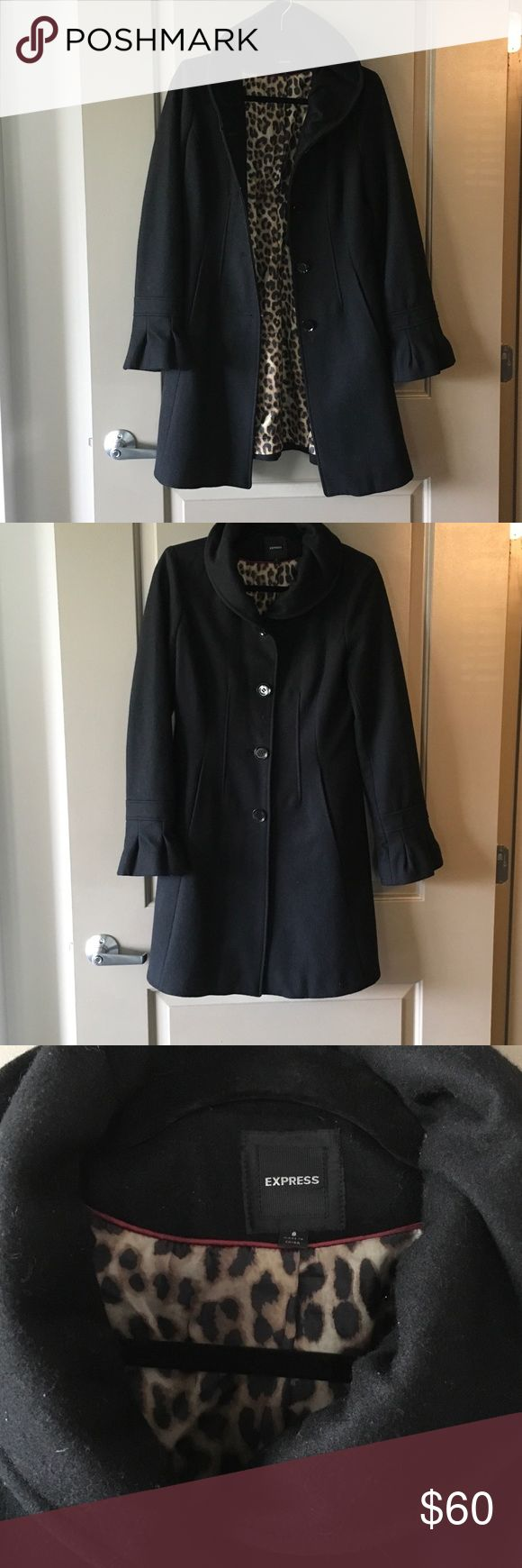 Express coat Black wool jacket from Express. Leopard silk lined. Missing two black buttons on back. Size Small Express Jackets & Coats Pea Coats