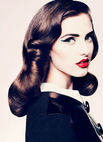 Finger Wave.OBSESSED.: Make Up, Retro Hair, Cat Eye, Vintage Hair, Hair Makeup, Red Lips, Pinup, Hair And Makeup, Pin Up