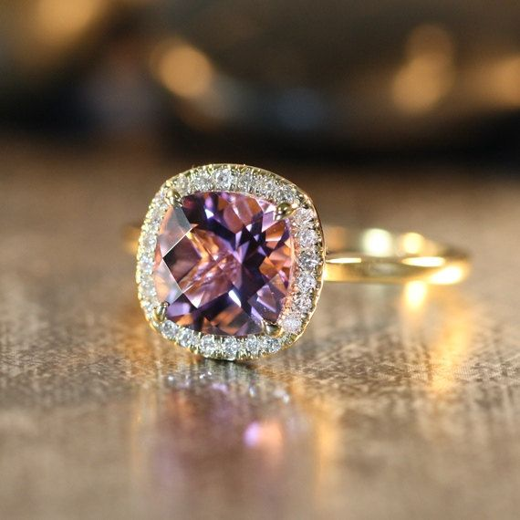 Purple Amethyst Engagement Ring in 14k Yellow Gold Halo Diamond Ring 8x8mm Cushion Gemstone Amethyst Ring