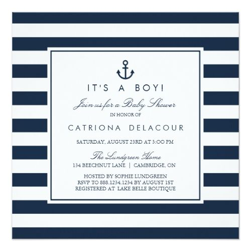 Navy Nautical It's a Boy Baby Shower Invitation | Zazzle.com