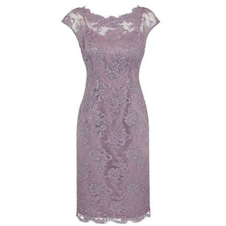 Sheath Bateau Cap Sleeves KneeLength Grey Lace Mother of The Bride Dress with Beading