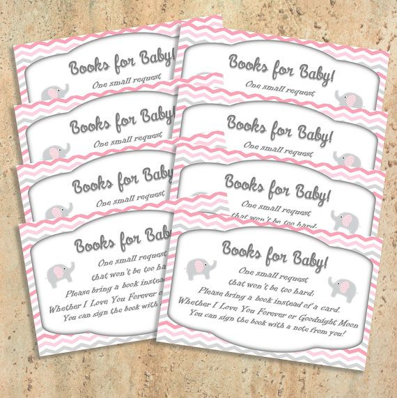 Digital Pink and Grey Elephant Books for by BluePandaInvitations