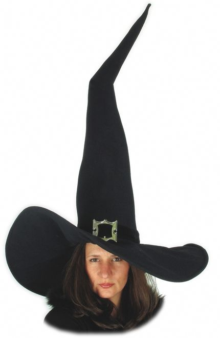 Giant Witch Costume Hat - Super Giant witch hat. This one stands really tall. Black velvety material and flexible brim. Fits all sizes of heads and is adjustible with an elastic/velcro adjuster. This is a great quality hat made by Elope and will last for many wearings. #halloween #witch #yyc #costume #hat