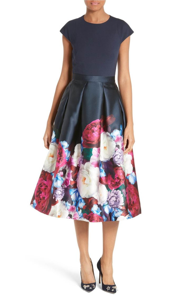 Main Image - Ted Baker London Blushing Bouquet Fit & Flare Dress