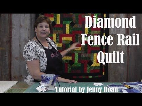 """http://missouriquiltco.com -- Jenny Doan demonstrates how to quickly and easily make a stunning Fence Rail Diamond Quilt using jelly rolls (2.5"""" x 44"""" strips of quilting fabric).    To get the materials needed to do this project, follow the links below.    Harmony Jelly Roll by Kanvas Studios for Benartex  http://www.missouriquiltco.com/shop/detail/8..."""