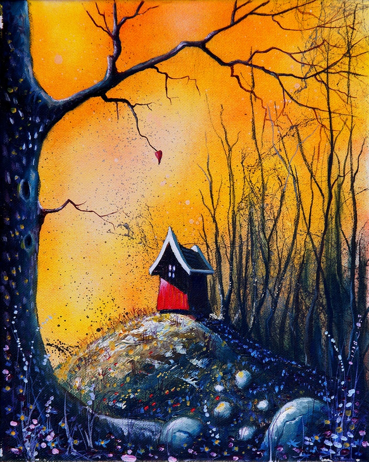BLESSED HOUSE  (Oil 30x24cm)  It's when the days are so dark that  there is no longer room for tears  that the sun once again appears.  When the heat fills my body, I feel blessed.  My house is on a golden bough.