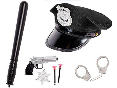 Déguisement policier pour enfant (KV-72): Kit de 7 accessoires: Casquette + Matraque + Paire de menottes avec 2 clés + Un pistolet révolver…