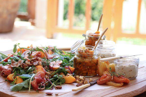 Harvest Lunch: Peach & Prosciutto Salad   Snoek Paté & Dried Fruit Pickle