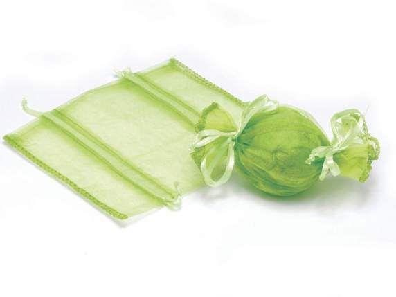 Sacchetti di organza - Portaconfetti Caramella Organza Verde Mela pz.70 - un prodotto unico di raffasupplies su DaWanda