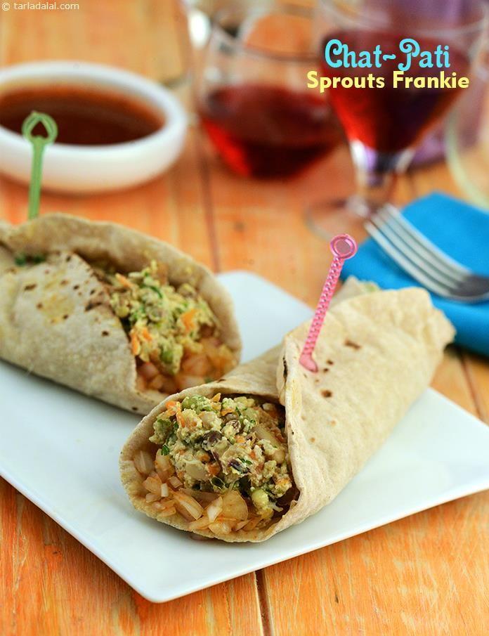 Chat-pati Sprouts Frankie recipe | Quick Indian Healthy Recipes | by Tarla Dalal | Tarladalal.com | #4075