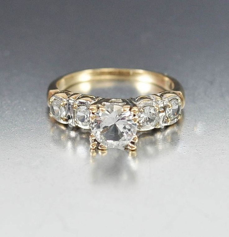 Gold Sapphire Diamond Art Deco Engagement Ring | Boylerpf