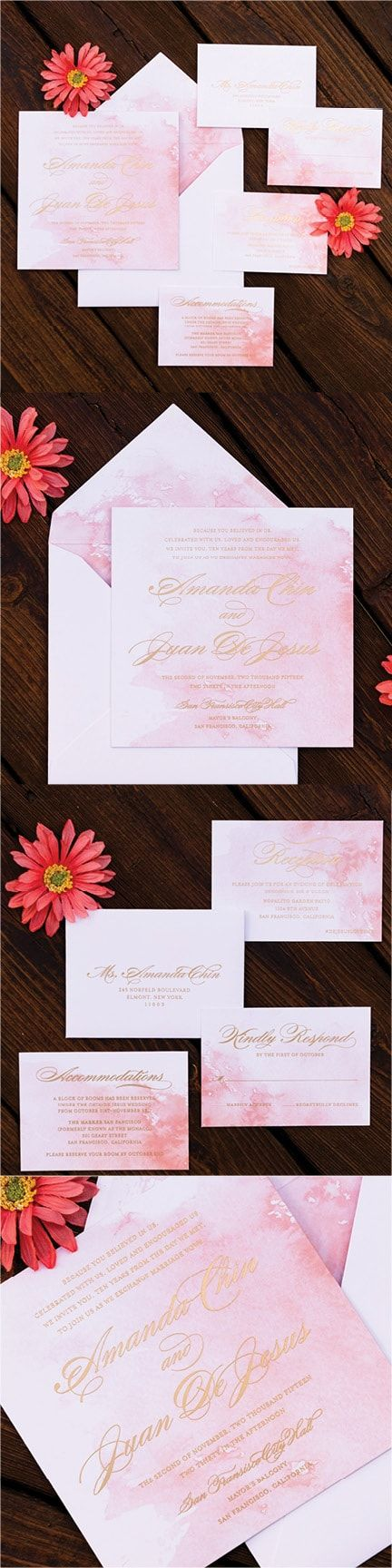 pink and gold wedding invitation kits%0A Blush Watercolor and Gold Metallic Wedding Invitation by Engaging Papers