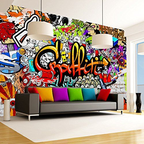 papier peint graffiti sur amazon pour chambre d 39 ados. Black Bedroom Furniture Sets. Home Design Ideas