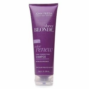 John Frieda Sheer Blonde Color Renew Shampoo... awesome purple shampoo to help neutralize brassiness. Giving this stuff a shot!
