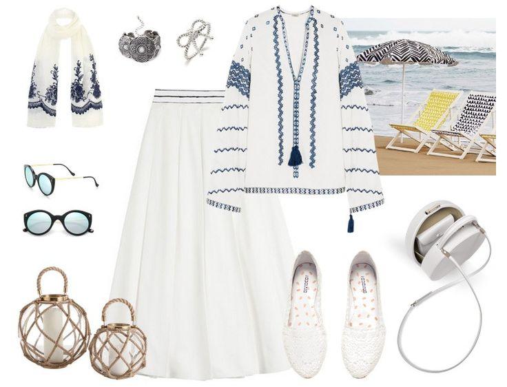 Yazlık Tesettür Giyim Kombinleri - Beyaz Etek Bluz Kombini http://www.yesiltopuklar.com/desenli-kombinlerle-guneye-goc.html