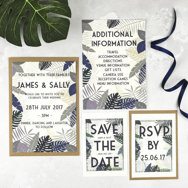 tropical botanical wedding stationery set