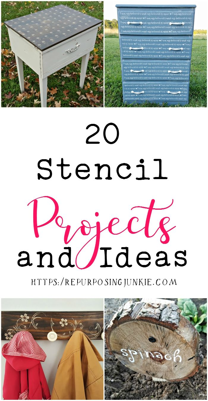 20 Stenciled Projects and Ideas for Furniture, Household and Outdoor Items