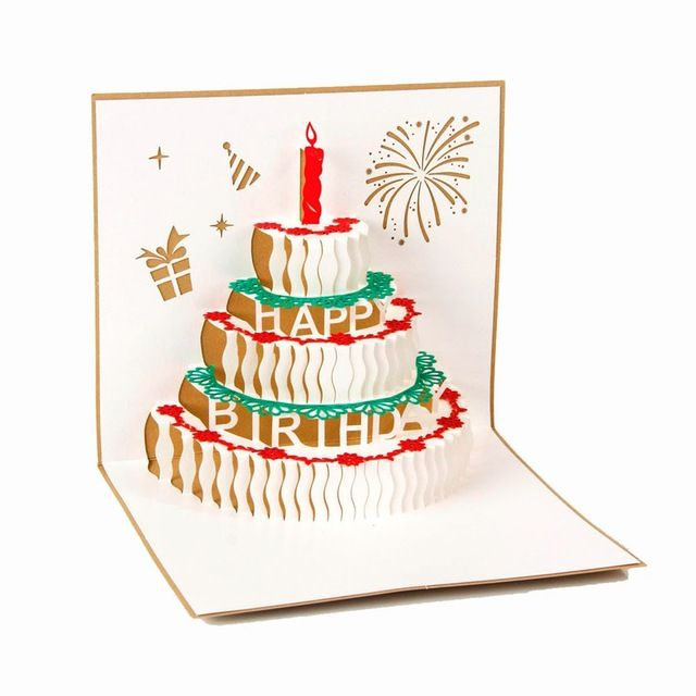 3D pop up handmade laser cut vintage Birthday cake with candle creative gifts greeting postcards on AliExpress