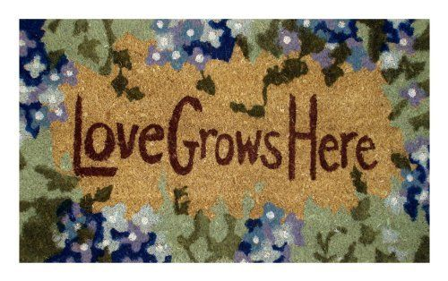 Love Grows Here - Printed Coco Doormat - Heavy Duty Outdoor Premium Coir Mat 18x30 by Iron Gate - Extremely durable - Traps dust - Welcome your guests with this high quality doormat by Iron Gate. Save 47 Off!. $15.99. The bristled coco fibers stand up and grab dirt very well. Compact weave prevents mat from shedding.. Printed Coir doormats are made from 100% coconut husks.. Care: To clean your coir mat simply shake the rug to clean it, or you can choose to hose or scrub it.. Hea...