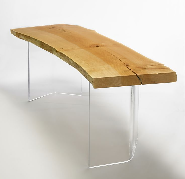 Shima Desk: Western Maple natural edge top with curved clear acrylic legs. Designed by Kirk Van Ludwig.