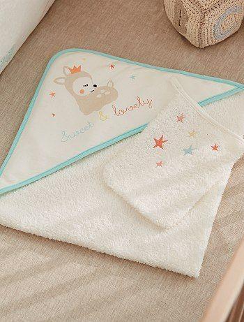 Ensemble cape de bain et gant petit faon                             blanc Bébé garçon  - Kiabi