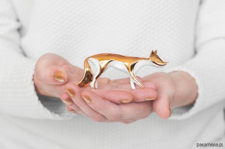 porcelana i szkło - różne-Figurka Lisa malowana złotem