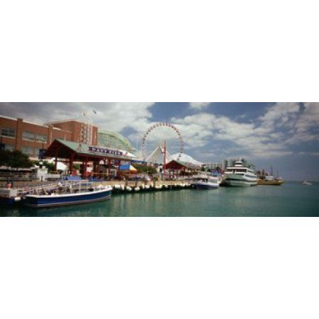 Boats moored at a harbor Navy Pier Chicago Illinois USA Canvas Art - Panoramic Images (36 x 13)