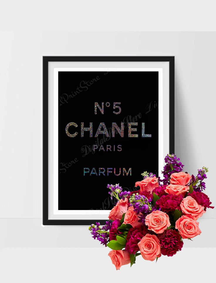 "Glitter Chanel Nr. 5 Printable of ""Coco Chanel 05"" Wall Art Poster Decor Nursery Silver Glitter Modern Digital Artwork Modern Comercial Use by DigitalPrintStore on Etsy"