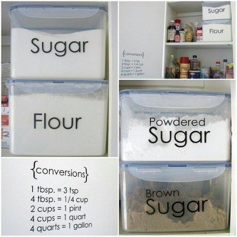 Top 58 Most Creative Home Organizing Ideas and DIY Projects....i really need to do this, It would be so much more easy to scoop out flour, sugars, etc.