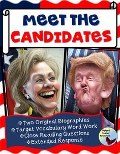 Presidential Election time is here. Learn about the 2016 Election Candidates. Who will you vote for - Hillary Clinton or Donald Trump? Use these non-fiction reading passages, vocabulary activities, and timeline graphic organizers to provide background knowledge about the two leading presidential candidates.
