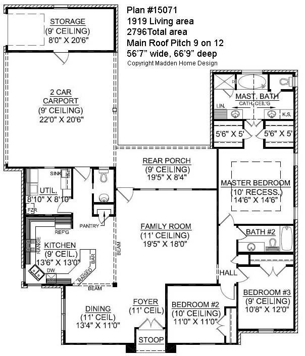 The Bellaire, Plan #15071 Madden Home Design, French Country Style House  Plan,