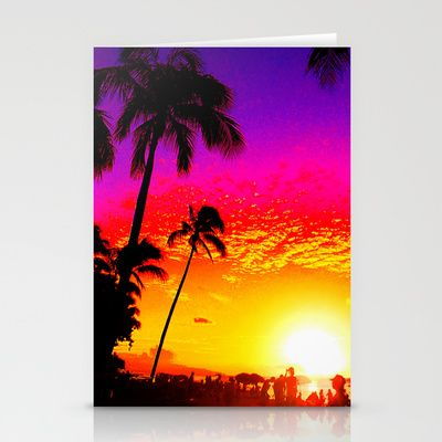 Sunset on Waikiki Stationery Cards by The Digital Weaver - $12.00