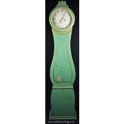 1800s green and gold antique swedish mora clock
