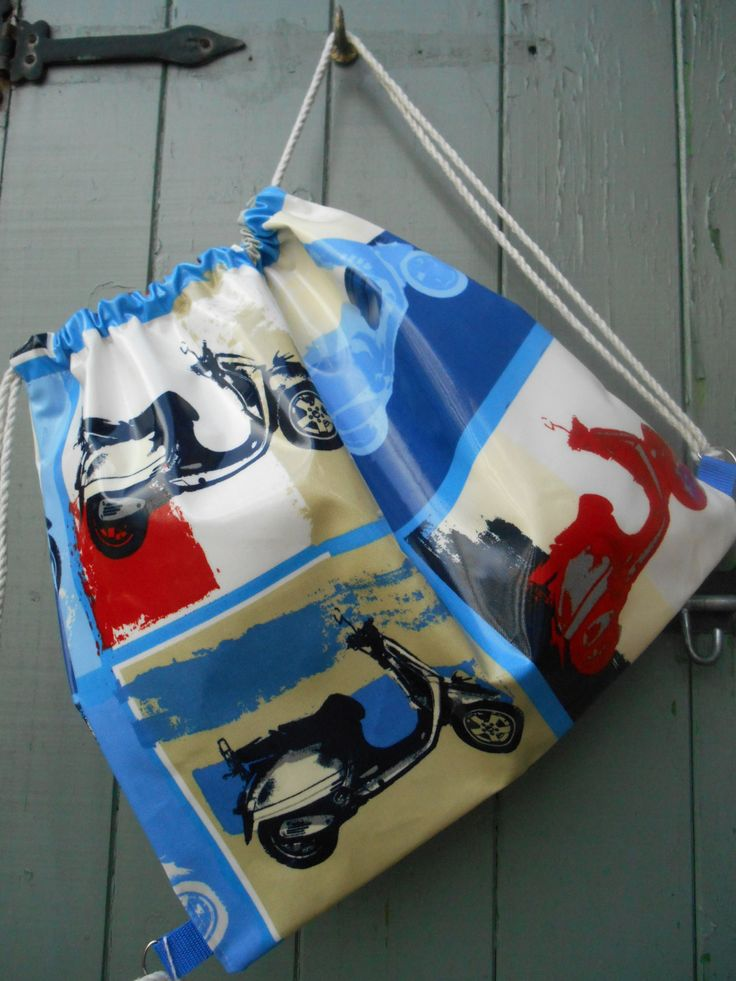Fab Scooter Oilcloth Kitbag - Hand Made by DagenaisDesign on Etsy
