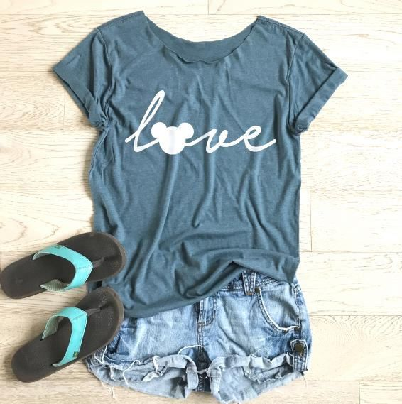 Love Disney. Mickey Mouse Love. Women's Disney Shirt.