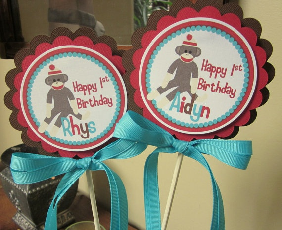 Silly Sock Monkey Centerpiece Pick  ONE Centerpiece by ciaobambino, $9.00