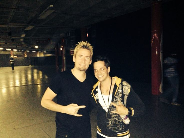 Chad, the lead singer of Nickleback, and I before I went up with the boys to open for Nickleback :)