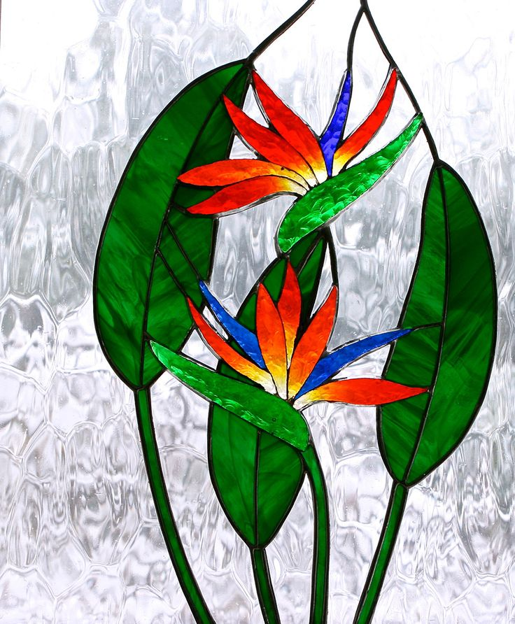 Stained glass bird of paradise | bird of paradise | Foiled and Faceted Stained Glass