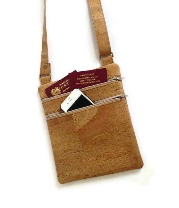 Cork Travel Purse - Small Cross Body Cork Bag - Eco Friendly Bag - Vegan Gift Idea by MyCottonHouse on Etsy
