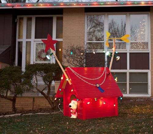 We built a six-foot tall Snoopy's doghouse for Christmas. Yard art ...