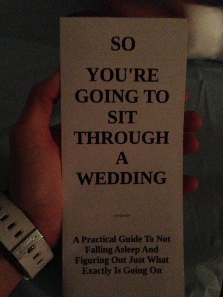 Wedding rituals can be confusing. So one couple decided to help their guests get through the ceremony by writing a practical (and hilarious) wedding program. @Cara K K K K K Harris @Skylar Eager Eager Eager Eager Eager Vorhies