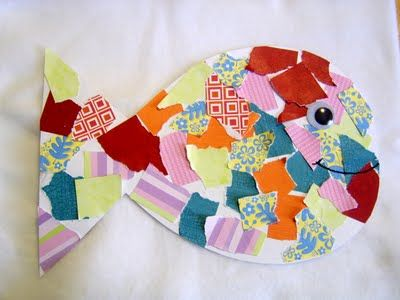 Fish collage...you can use this idea for simple winter, spring or fall shapes