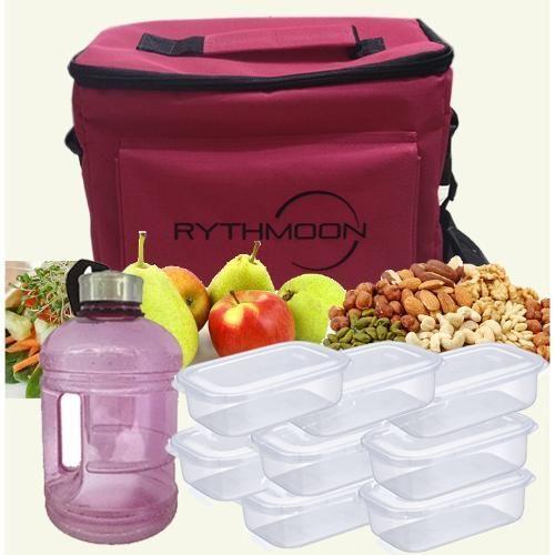 Kit Bolsa Térmica Tipo Keeppack Pink + Mini Galão Água Rosa + 8 Refeições Rythmoon