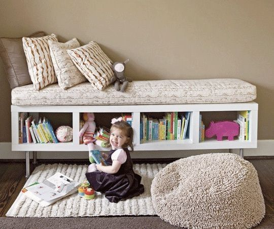 bench/shelf ( Ikea) cute idea..