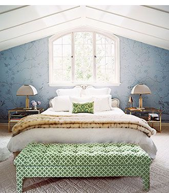 Ruthie Sommers Design | Bedroom with blue print wallpaper | Bench covered in green geometric patterened fabric