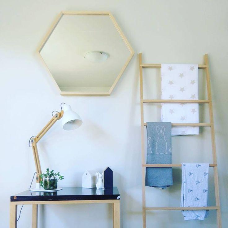 indie mirror, jorge side table and reed ladder all made by fox & rabbit #foxandrabbitnz #indiemirror #jorgesidetable #reedladder