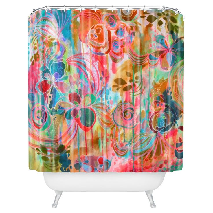 "Stephanie Corfee Corfee Free Spirit in Orange Shower Curtain (71""x74"") - Deny Designs, Orange Smoothie"